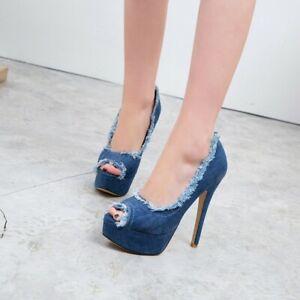 Womens Denim Platform Very High Heels Peep Toe Fashion Sandals Stilettos Shoes