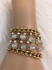 Gold Tone Clear Beaded Multi Strand Chain Fashion Bracelet