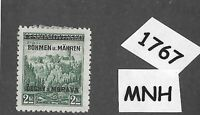 #1767 MNH 1939 Overprint stamp 2.00 KR BaM Protectorate / Third Reich occupation