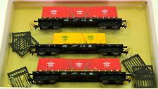 M+D/Klein Modellbahn 069 – 3 Rungenwagen der DB, mit Euro-Planen beladen
