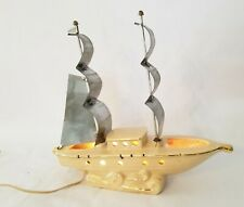 Vintage Sailboat Lamp in Ivory Ceramic with Gold Trim and Stainless Steel Sails