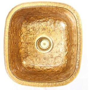 JSG Oceana 009-009-400 Undermount Kitchen Sink, 24K Gold, Glass Foil Inlay
