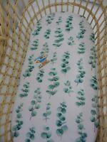 Bassinet Fitted Sheet Eucalyptus Leaves 100% Cotton  FITS STANDARD BASSINET