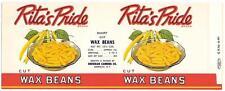Wholesale Dealer's Lot 100 Rita's Pride Wax Beans Can Label Sheridan, New York