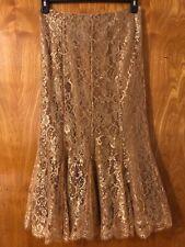 Ralph Lauren black label 8 6 gold lace metallic maxi long full length skirt