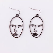 Abstract Style Face Earrings Gold Picasso Statement Earrings Minimal Hollow Face