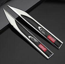 2pcs 3D Auto Dolch STI Aufkleber Emblem Fenders Schriftzug für Racing Sports NEU