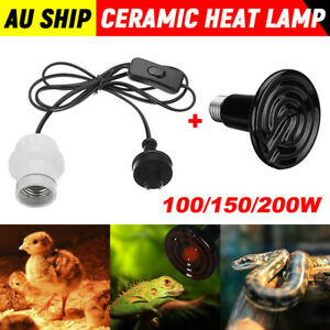 Infrared Ceramic Heat Lamp Bulb With Holder For Reptile Pet Chicken Brooder