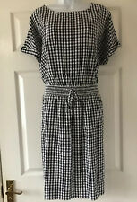New Next Black White Casual  Checked Summer  Dress  Size 16