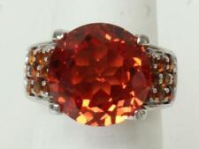KH 925 Sz 5 Ring W/Round Orange 12mm Center Stone&Small Stone Shank Accents