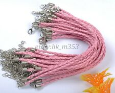 Wholesale 10pcs Pink Braid Rope Leather Bracelets