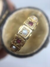 Antique Victorian Yellow Gold Ruby And Pearl 15ct  Band Ring Scroll
