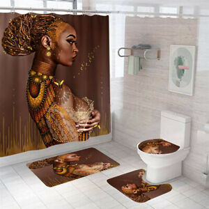 African Woman Shower Curtain Bathroom Rug Set Bath Mat Non-Slip Toilet Lid Cover