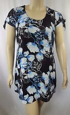 NEW City Chic Black Cap Sleeve Floral Sketch Shift Dress Size XS 14 BNWOT CC912
