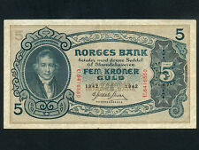 Norway:P-7c,5 Kroner,1942 * Pres. Christie * RARE *
