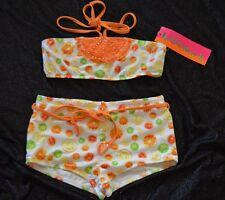 KATE MACK 2 Pc Swimsuit w/ boy cut short FRUIT PUNCH Lemon Lime Orange NWT 10