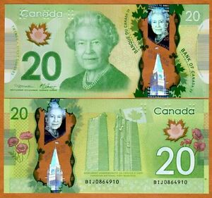 Bank of Canada, $20, 2012, Polymer, P-108, QEII, UNC