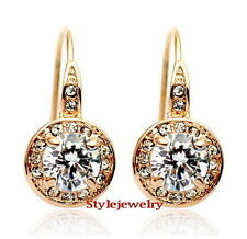 Rose Gold Fill Bridal Round Drop Dangle Earring Made With Swarovski Crystal 20E
