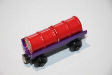 Thomas The Tank Engine Wooden Railway Barrel Car purple with barrels fuel