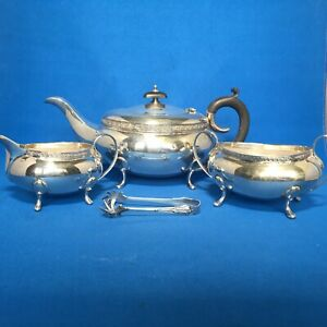 Antique English Silver Plated 4 Pieces Tea Set