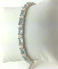 Womens 18K Gold Over Solid Sterling Silver Swiss Topaz Designer Bracelet