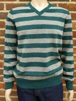 Men`s V-Neck Lambswool Jumper w/ Elbow Patch Size XL Grey/Green Sweater