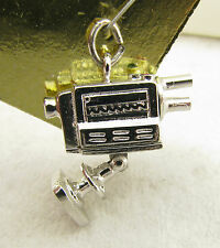 Vintage Sterling Articulated Moving Movie TV Camera Camcorder Enamel Charm