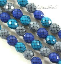 Round Snake Beads, 8mm, Ocean Mix, Fire Polished Finish, Czech Beads, 22 Pcs