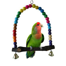 Mini Wooden Bird Parrot Swing Toy Parakeet Cockatiel Lovebird Budgie Hanging New