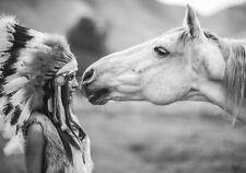 Girl Native American Indian Headdress Horse Art Quality Canvas Print A3
