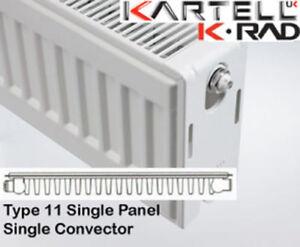 Kartell K-Rad Single Panel Type 11 Compact Radiator 900mm High- various widths