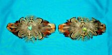 Set 2 Med Feathered Barrettes Pheasant Feathers & Turquoise FREE SHIPPING MBS08