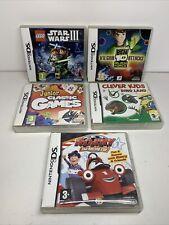 Nintendo DS x5 Paquete De Juegos Ben 10 Lego Star Wars 3 Roary Clever Kids Dino Land