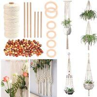 Macrame Craft DIY Kit Plant Knitting 100x Wood Bean 6x Wood Stick 100m Cord Rope