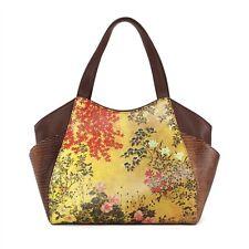 ICON Leather Japanese Screen Gold Floral Flower Shoulder Tote Art Bag Mult NEW