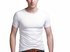 Men Fashion Round Collar T-shirt Casual Short Sleeve SKINNY Cotton Tee Stretchy White L