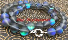 Natural 8mm Gray Gleamy Rainbow Moonstone Round Gems Necklace 18''AAA