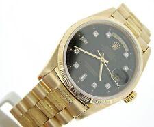 Men Rolex Day-Date President 18k Yellow Gold Watch Bark Black Diamond Dial 18078