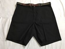Haggar Gentleman's Closet Shorts Size 34 Black Flat Front Cotton Casual Belted