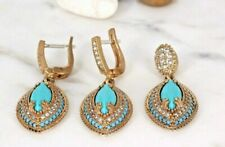 Turkish Handmade Turquoise Silver 925 set Earring Pendant turquoise set