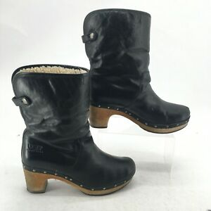 UGG Womens 9 Lynnea Shearling Fold Over Clog Booties Black Leather Wool S/N 1958