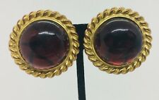 Isabel Canovas Vintage Yellow Gold Plated Red Glass Cabochon Clip Earrings