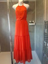 BNWT Boohoo Annora Chiffon Halterneck Tired Maxi Orange Full Length Dress sz 12