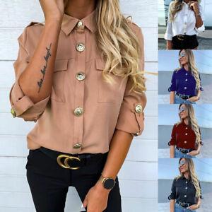 UK Womens Button Long Sleeve Blouse Ladies OL Long Sleeve Office Work Shirt Tops