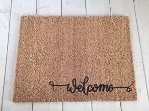 Welcome Decorative Door Mat: Indoor Outdoor Coir Heavy Duty Non-slip Doormat UK