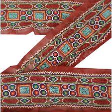 Sanskriti Sari Border Antique Hand Embroidered 2YD Trim Sewing Dark Red Lace