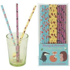 dotcomgiftshop PACK 25 SCHOOL MILK RUSTY AND FRIENDS PAPER PARTY DRINKING STRAWS