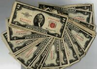 1953 $2.00 Two Dollar Red Seal United States Notes Average Circulated Condition