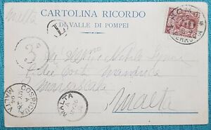 1904 ITALY - MALTA COSPICUA, UNDER PAID PC +Tax + Circular Postage Due  3d PD-32