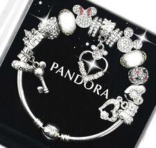 Authentic Pandora Bracelet Silver Disney Mickey Minnie White European Charms NIB